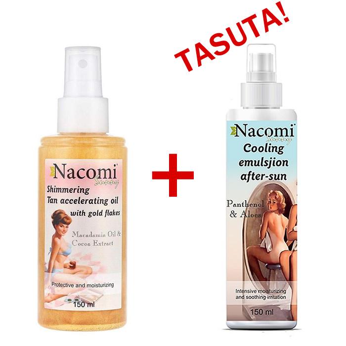 Nacomi Tan Accelerating kulla osakestega päevitusõli (150 ml) + TASUTA Cooling After Sun kehalosjoon (150 ml)