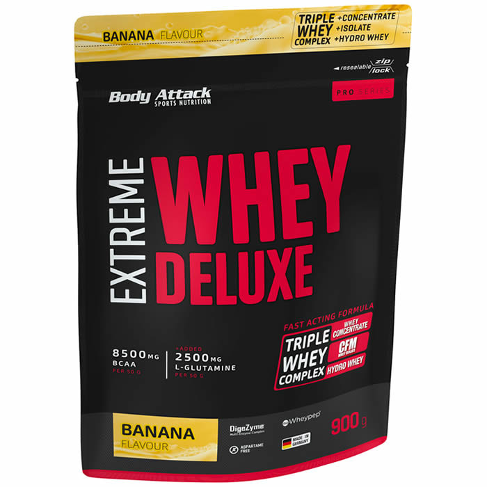 Body Attack Extreme Whey Deluxe valgupulber, Banaani (900 g). Parim enne 30.10.2019