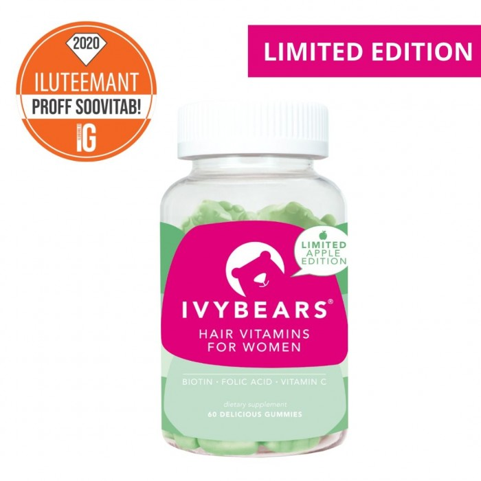 IvyBears juuksekasvu kiirendavad ja väljalangemist vähendavad kummikarud (60 tk)