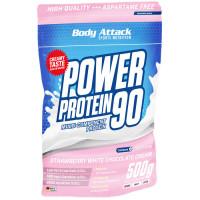 Body Attack Power Protein 90 valgupulber, Maasika-valge šokolaadikreemi (500 g)