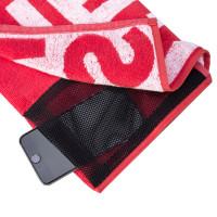 Prozis Gearsafe Gym Bench Towel taskuga trennirätik, Punane (50 x 80 cm)