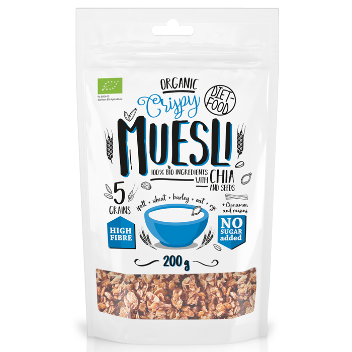 Diet Food Organic Crispy Muesli with Chia Seeds müslisegu chia seemnetega (200 g)