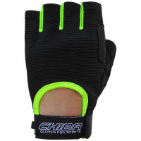 Chiba Summertime Gloves treeningkindad, Must-neoonkollane (XS)