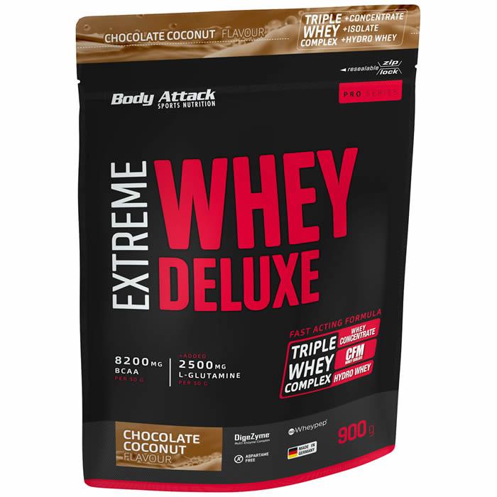 Body Attack Extreme Whey Deluxe valgupulber, Šokolaadi-kookosekreemi (900 g). Parim enne 30.10.2019