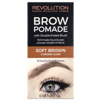 Makeup Revolution London Brow Pomade kreemjas kulmuvärv, Soft Brown (2.5 g)
