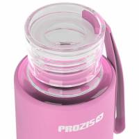 Prozis Mantra silikoonkattega klaaspudel, Roosa (550 ml)