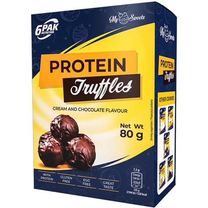 6PAK Protein Truffles proteiinitrühvlid, Dark (80 g). Parim enne 30.04.2019