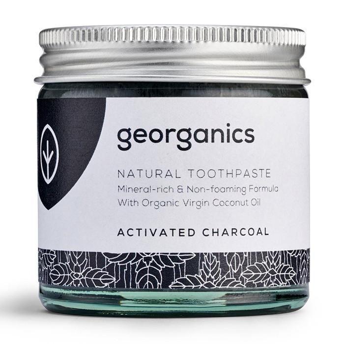 Georganics looduslik remineraliseeriv hambapasta kookosõli baasil, Valgendava aktiivsöega (60 ml)