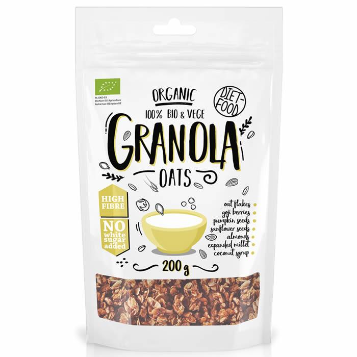 Diet Food Organic Crispy Granola müslisegu, Oats (200 g)