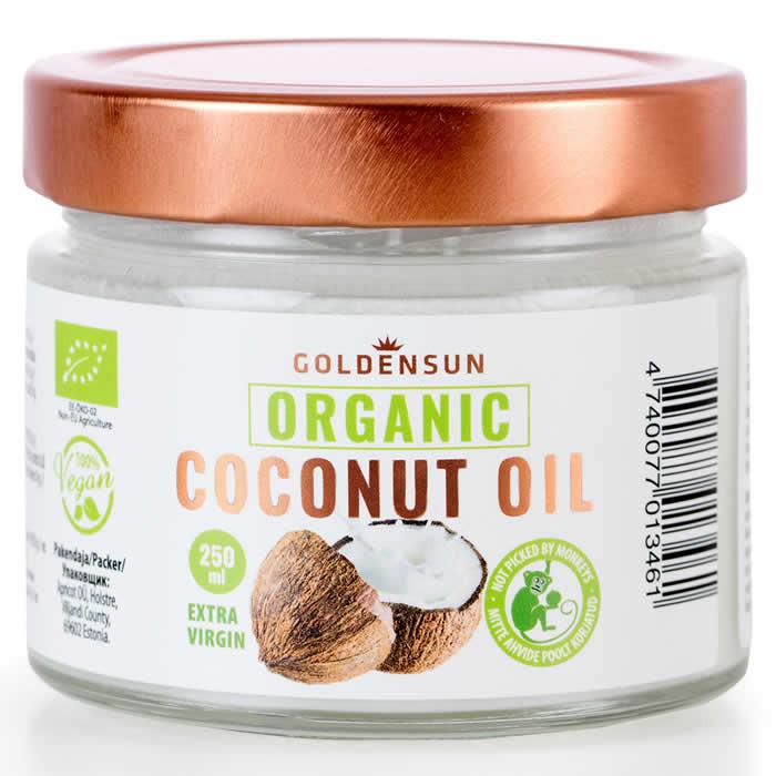 GoldenSun mahe külmpressitud extra virgin kookosõli (250 ml)