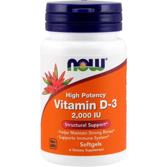 NOW Vitamin D3 2000 IU õlikapslid (120 tk)
