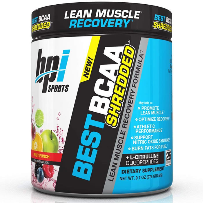 BPI Sports Best BCAA Shredded L-karnitiini ja L-tsitrulliiniga, Fruit Punch (300 g)