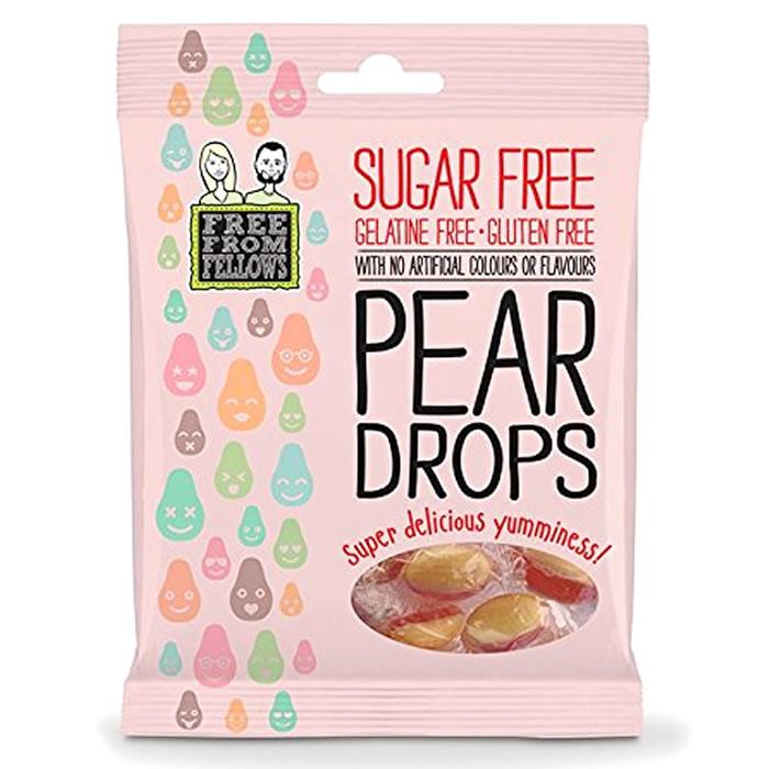Free From Fellows suhkru-ja želatiinivabad kommid, Pear Drops (70 g)