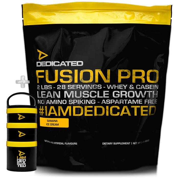 Dedicated Nutrition Fusion Pro valgupulber, Stracciatella Gelato (908 g) + KINGITUS Powder Container