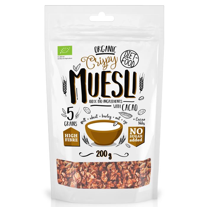 Diet Food Organic Crispy Muesli with Cacao müslisegu kakaoga (200 g)