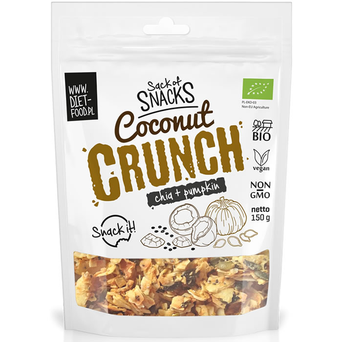 Diet Food Bio Coconut Crunch - Chia + kõrvitsaseemned (150 g)