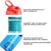 BlenderBottle Sportmixer Grip šeiker-joogipudel, Clear-White (820 ml)