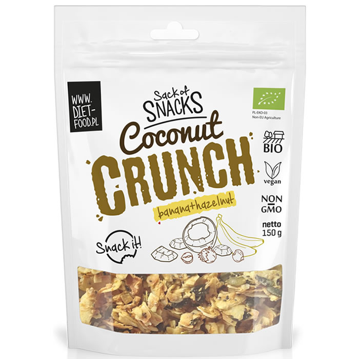 Diet Food Bio Coconut Crunch, Banaani+metsapähklitega (150 g)