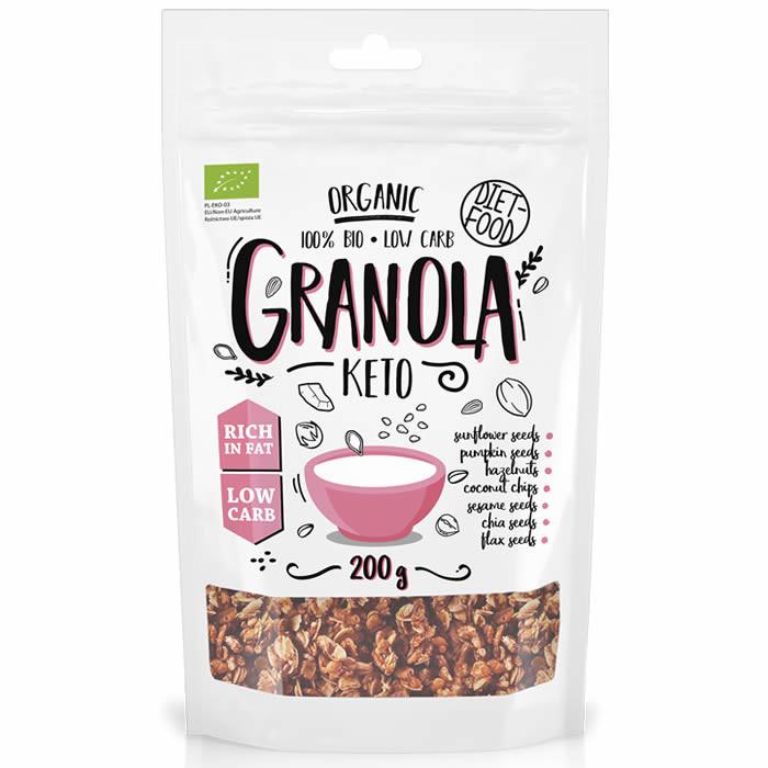 Diet Food Organic Crispy Granola madala süsivesikute sisaldusega müslisegu, Keto (200 g)