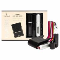 Travalo Classic HD täidetavate lõhnapihustite komplekt, Must (5 ml) + Hõbe (5 ml) + Must vutlar