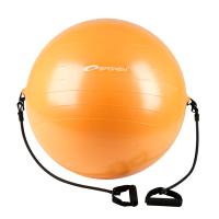 Spokey Energetic võimlemispall kummiekspanderitega, Oranž (Ø 65 cm) + pump