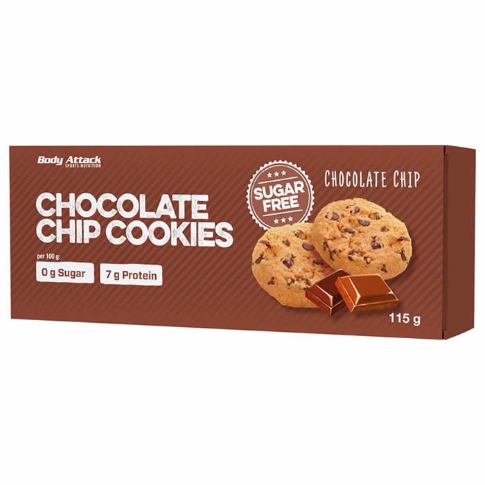 Body Attack Low Sugar Cookies, Chocolate Chip (115 g)