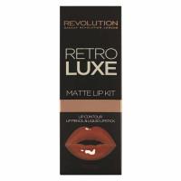 Makeup Revolution Retro Luxe Matte huulepulga ja pliiatsi komplekt, Regal (5.5 ml + 1 g)