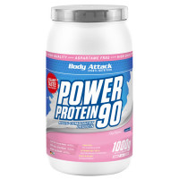 Body Attack Power Protein 90 valgupulber, Maasikakreemi (1 kg)